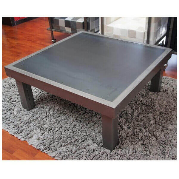 table basse duo acier table style contemporain acier gris. Black Bedroom Furniture Sets. Home Design Ideas