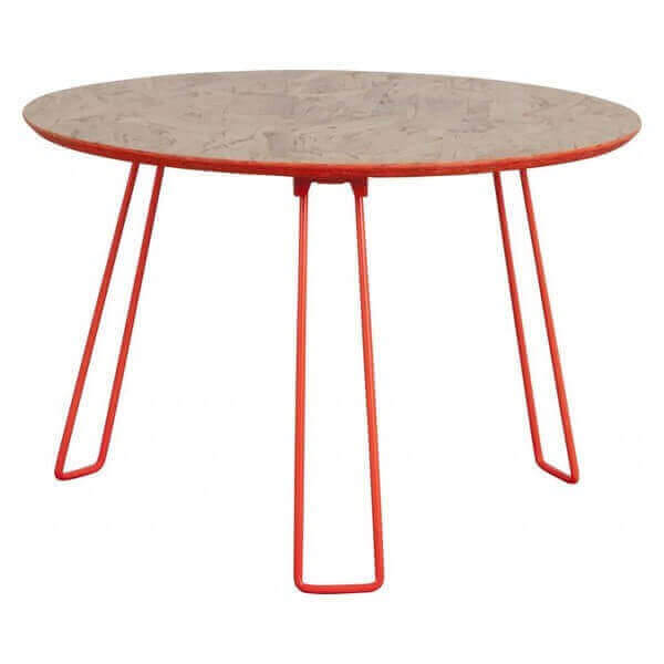 table basse d 39 appoint pliable en bois osb et acier design orange ou blanc laqu et ronde. Black Bedroom Furniture Sets. Home Design Ideas