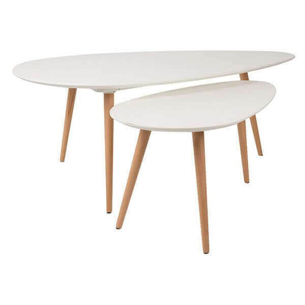 Lot de 2 tables basse suede design blanche en bois for Table basse scandinave lot de 2