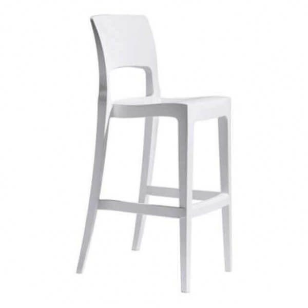 Tabouret de bar blanc easy chaise haute avec dossier for Tabouret de bar exterieur