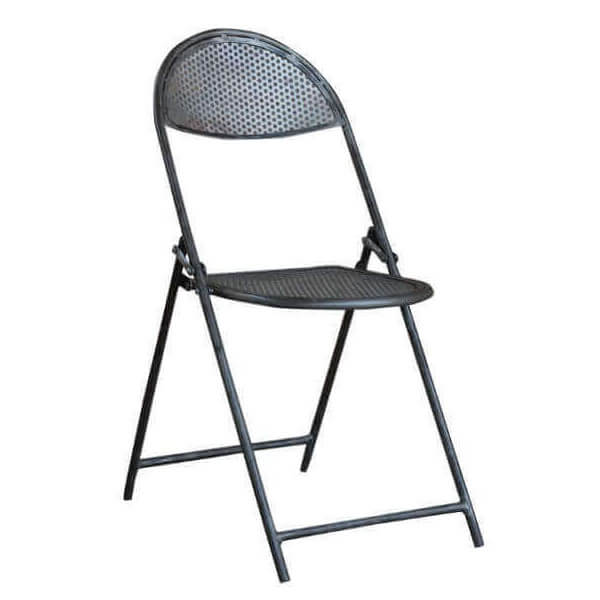 Folding chair in perforated steel