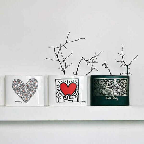vase keith haring men with heart With kitchen cabinets lowes with keith haring wall art