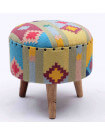 KILIM - Colorful stool in colored fabric
