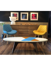 Chaise design pop jaune bleu