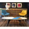 Chaise design pop jaune bleu