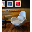 Space design armchair in light grey fabric
