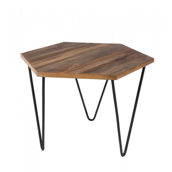 Table basse en tek polygone