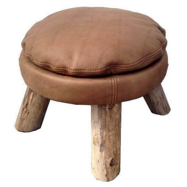 MATTAK - Bleu Nature leather stool