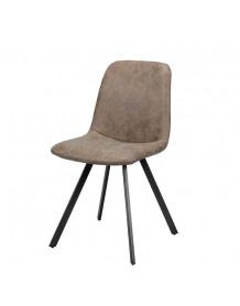 Chaise repas design aspect cuir marron