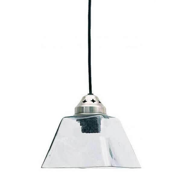 Lampe suspension design en verre carr e de la marque pomax for Suspension verre design