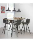 KITCHEN - Ensemble de 4 chaises hautes et 1 table aspect chêne