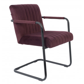 Fauteuil Dutchbone en velours prune Stitched