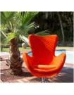 COCOON - Fauteuil design en velours moiré orange