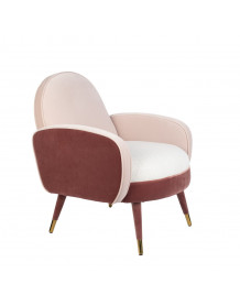 SAM - Fauteuil velours rose zuiver