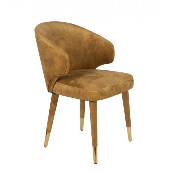 LUNAR - Grey velvet Dining chair