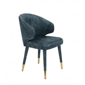 Blue velvet Dining chair Lunar