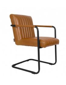 chaise cuir marron dutchbone stitched