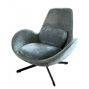 SPACE - Contemporary armchair in turquoise velvet