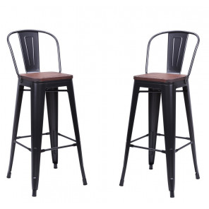 Bar chair Nevada with dark brown seat