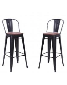 Chaise de bar Nevada avec assise bois foncée