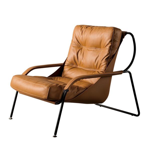 BOSTON - Fauteuil de salon aspect cuir marron