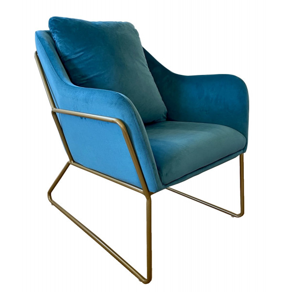 Blue velvet armchair Golden