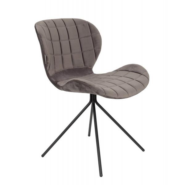 Chaise de repas OMG en velours gris