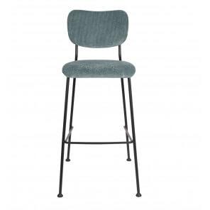 Grey blue Velvet bar stool Benson Zuiver
