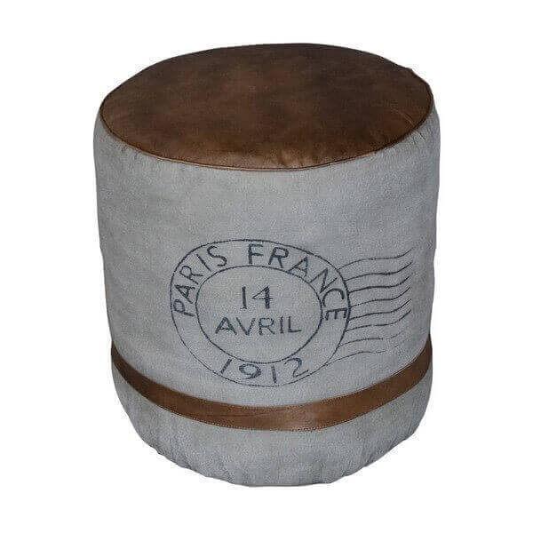 Pouf cuir vintage France 1390