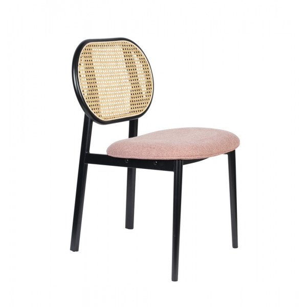 SPIKE - Chaise dossier en cannage et assise en tissu rose