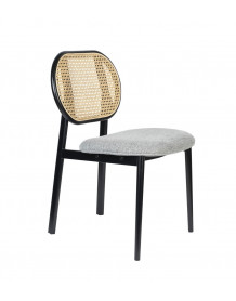 SPIKE - Cane chair and grey fabric seat