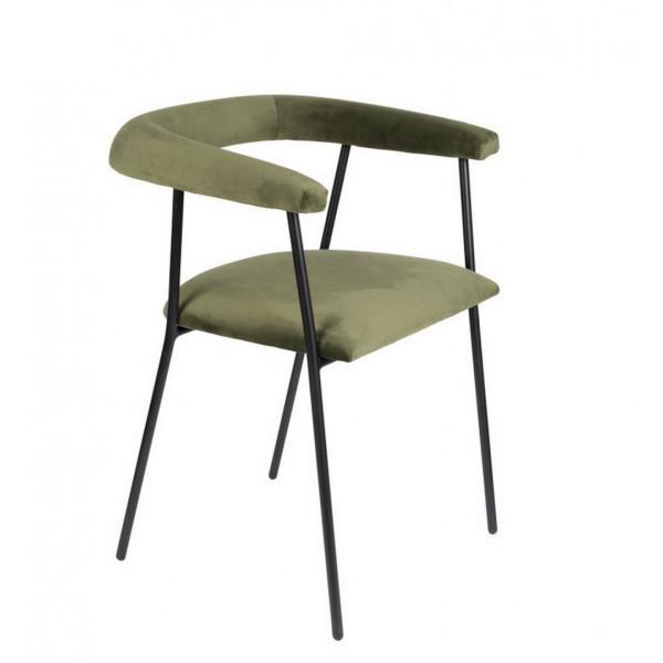 HAILY - Chaise de salle à manger en velours vert