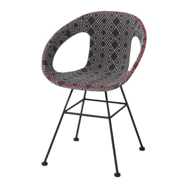 Chaise design tissu Maya noir