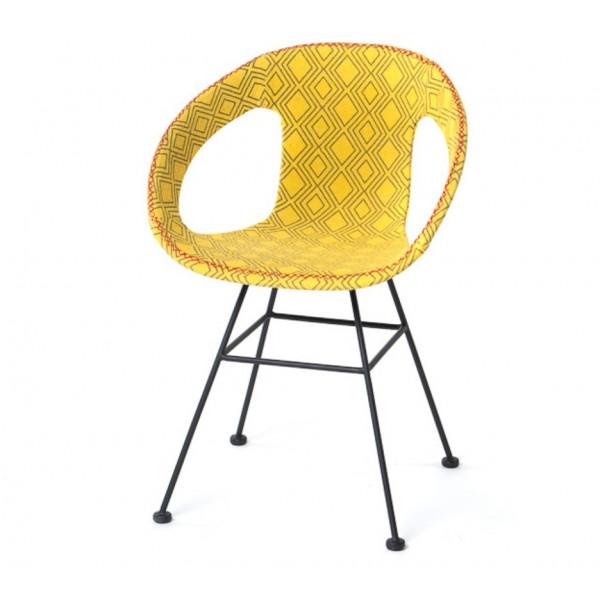 Chaise jaune tissu Maya