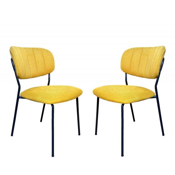 Bellagio chaise repas tissu jaune