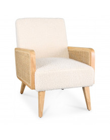 Synergie - Fauteuil Tissu boucle blanc