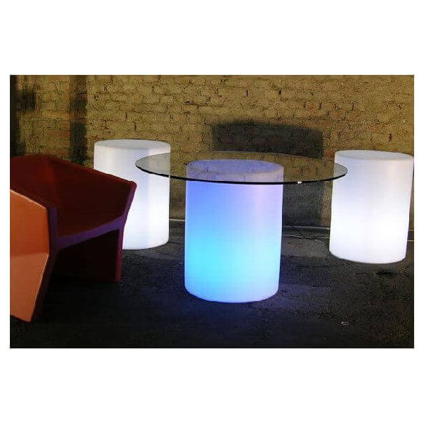 Table lumineuse arthur slide ronde slide table ronde d for Table exterieur lumineuse