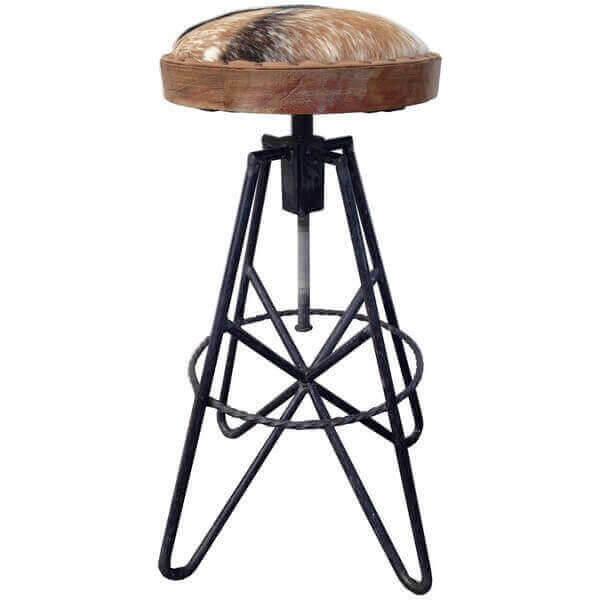 tabouret de bar eiffel style loft industriel en acier brut, assise ... - Chaise De Bar Industriel