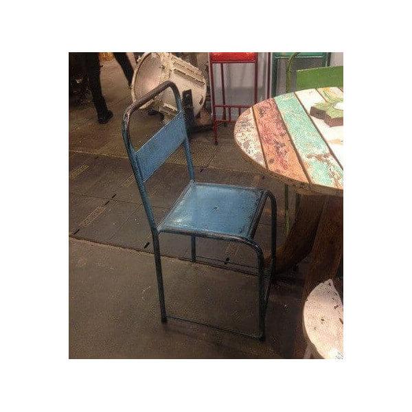 Chaise metal vintage bleu