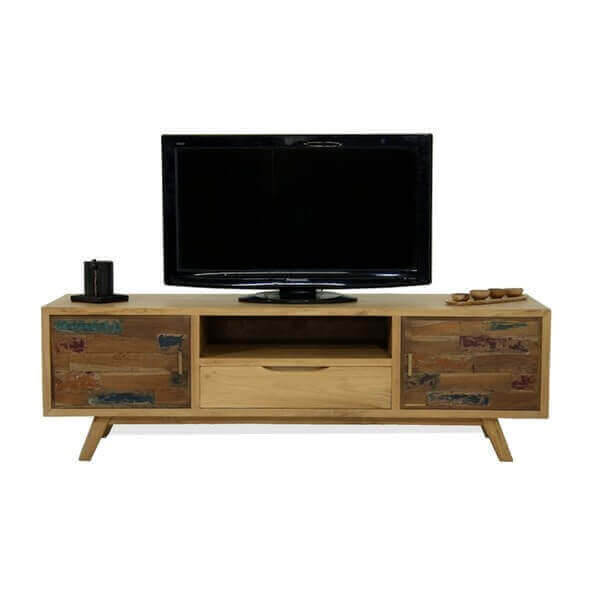 Meuble tv contemporain bois massif for Meuble tv scandinave