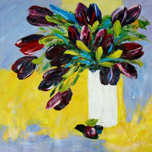 Oil painting Black Tulips
