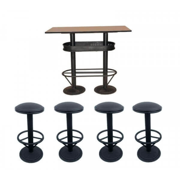 Ensemble table haute industriel bistro et 4 tabourets for Tabouret table haute