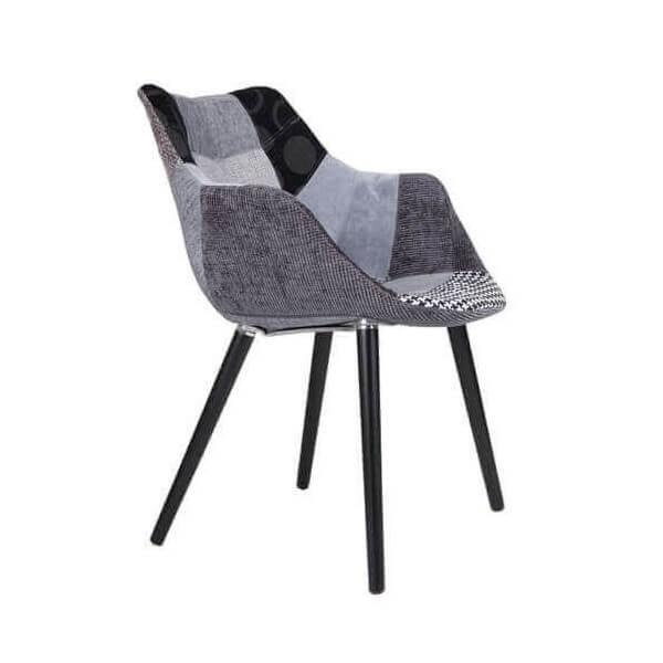 Chaise Patchwork gris et noir 4878