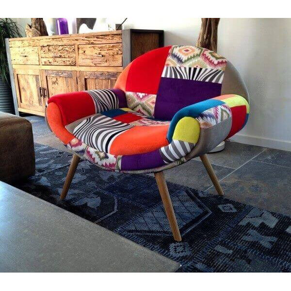 Patchwork Hippie Chic - Fauteuil multicolore design