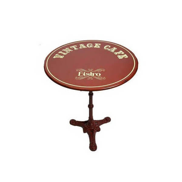 Red round bistro table - Table ronde industrielle ...
