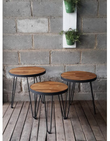 Trio table wood and steel