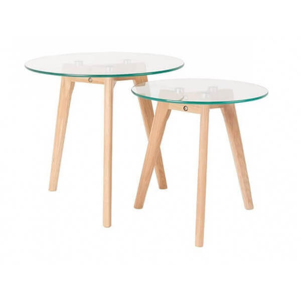 2 tables d'appoint en verre