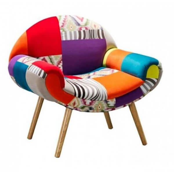 Fauteuil patchwork hippie chic for Chaise en tissu colore
