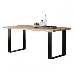 Steel and wood dining table