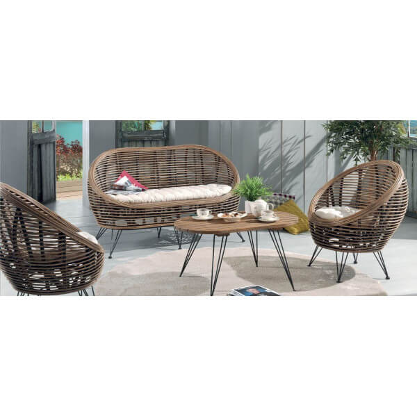 Rattan lounge set  Living room ball rattan set